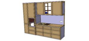Plan de conception de la cuisine, avant réalisation. Module Cuisson