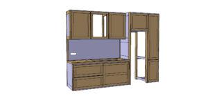 Plan de conception de la cuisine, avant réalisation. Module Eau et Frigo